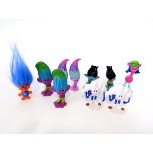 10 Pcs. Trolls Figures Cake Toppers 2 Inches Tall